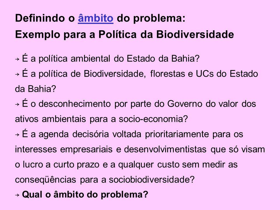 Definindo o âmbito do problema: Exemplo para a Política da Biodiversidade É a política ambiental do Estado da Bahia.