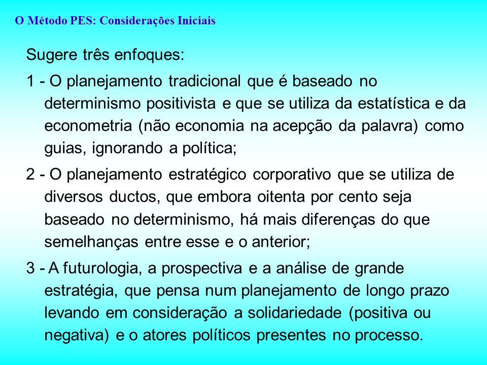Sugere três enfoques: 1 - O planejamento tradicional que é baseado no determinismo positivista e que se utiliza da estatística e da econometria (não economia na acepção da palavra) como guias, ignorando a política; 2 - O planejamento estratégico corporativo que se utiliza de diversos ductos, que embora oitenta por cento seja baseado no determinismo, há mais diferenças do que semelhanças entre esse e o anterior; 3 - A futurologia, a prospectiva e a análise de grande estratégia, que pensa num planejamento de longo prazo levando em consideração a solidariedade (positiva ou negativa) e o atores políticos presentes no processo.