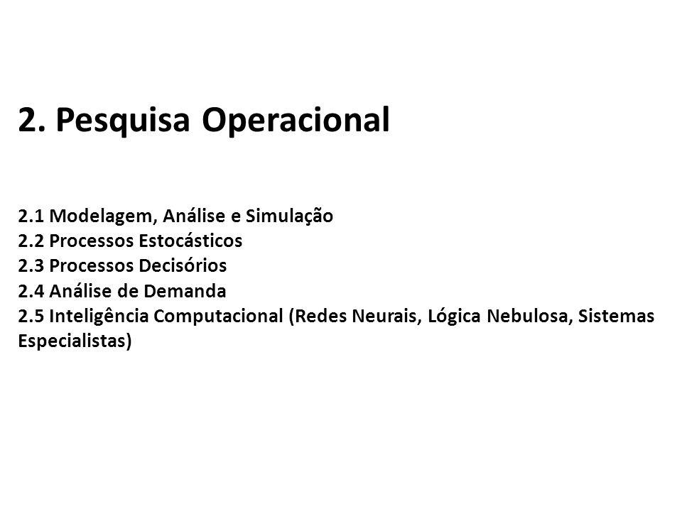 2. Pesquisa Operacional 2.1 Modelagem, Análise e Simulação 2.2 Processos Estocásticos 2.3 Processos Decisórios 2.4 Análise de Demanda 2.5 Inteligência