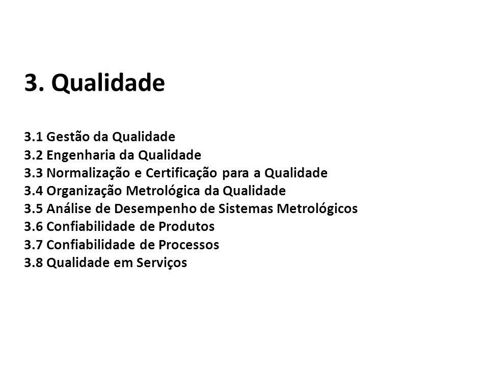 3. Qualidade 3.1 Gestão da Qualidade 3.2 Engenharia da Qualidade 3.3 Normalização e Certificação para a Qualidade 3.4 Organização Metrológica da Quali