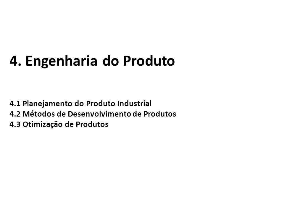 4. Engenharia do Produto 4.1 Planejamento do Produto Industrial 4.2 Métodos de Desenvolvimento de Produtos 4.3 Otimização de Produtos
