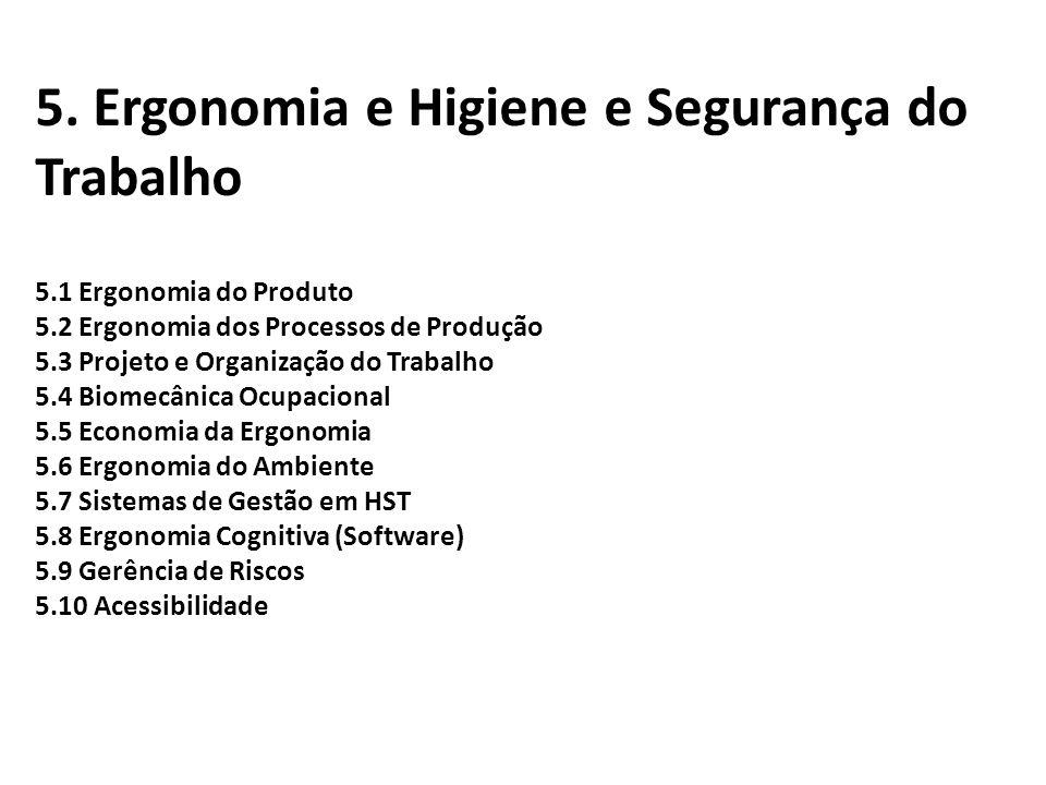5. Ergonomia e Higiene e Segurança do Trabalho 5.1 Ergonomia do Produto 5.2 Ergonomia dos Processos de Produção 5.3 Projeto e Organização do Trabalho