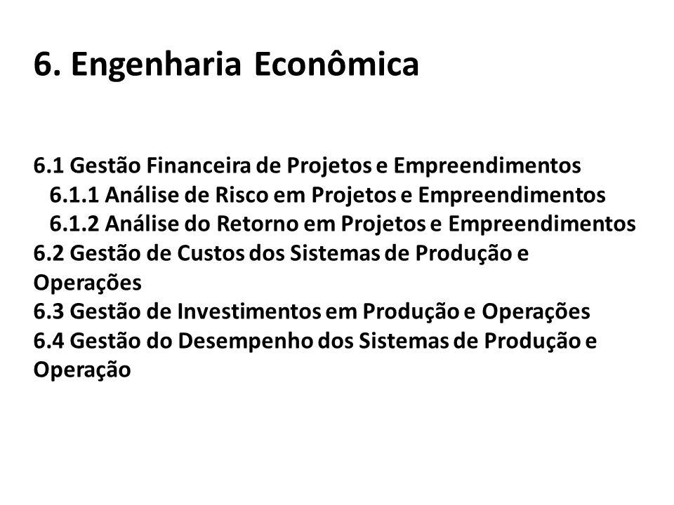6. Engenharia Econômica 6.1 Gestão Financeira de Projetos e Empreendimentos 6.1.1 Análise de Risco em Projetos e Empreendimentos 6.1.2 Análise do Reto