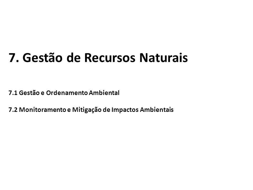 7. Gestão de Recursos Naturais 7.1 Gestão e Ordenamento Ambiental 7.2 Monitoramento e Mitigação de Impactos Ambientais