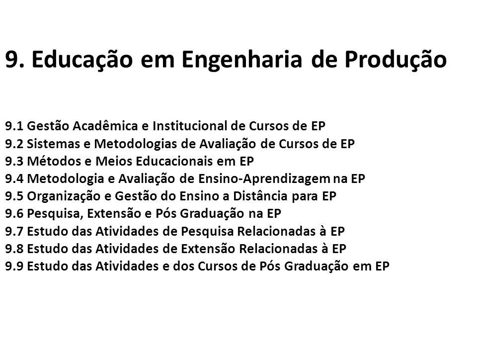 9. Educação em Engenharia de Produção 9.1 Gestão Acadêmica e Institucional de Cursos de EP 9.2 Sistemas e Metodologias de Avaliação de Cursos de EP 9.