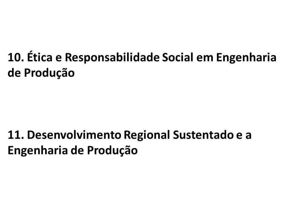 10. Ética e Responsabilidade Social em Engenharia de Produção 11. Desenvolvimento Regional Sustentado e a Engenharia de Produção