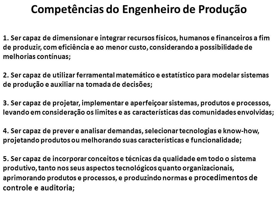 Competências do Engenheiro de Produção 1. Ser capaz de dimensionar e integrar recursos físicos, humanos e financeiros a fim de produzir, com eficiênci