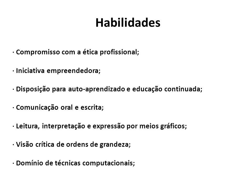 Habilidades · Compromisso com a ética profissional; · Iniciativa empreendedora; · Disposição para auto-aprendizado e educação continuada; · Comunicaçã