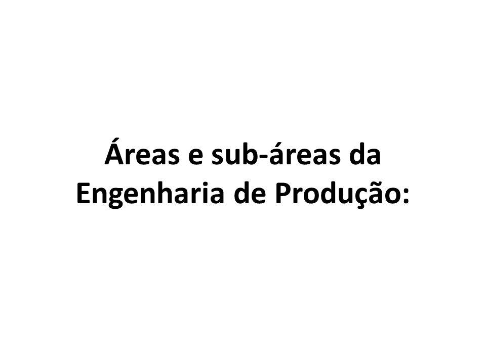 Áreas e sub-áreas da Engenharia de Produção: