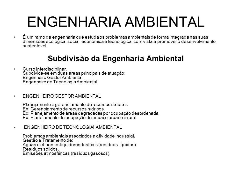 ENGENHARIA AMBIENTAL Mercado de Trabalho A procura pelo engenheiro ambiental é grande, principalmente por causa das exigências legais de proteção ao meio ambiente.