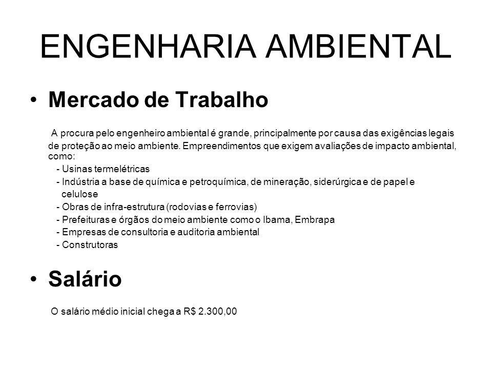 ENGENHARIA AMBIENTAL Mercado de Trabalho A procura pelo engenheiro ambiental é grande, principalmente por causa das exigências legais de proteção ao m