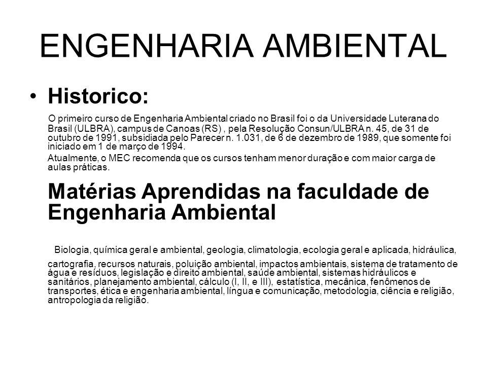 ENGENHARIA AMBIENTAL Esse profissional promove o desenvolvimento econômico sustentável, ou seja, que respeita os limites dos recursos naturais.