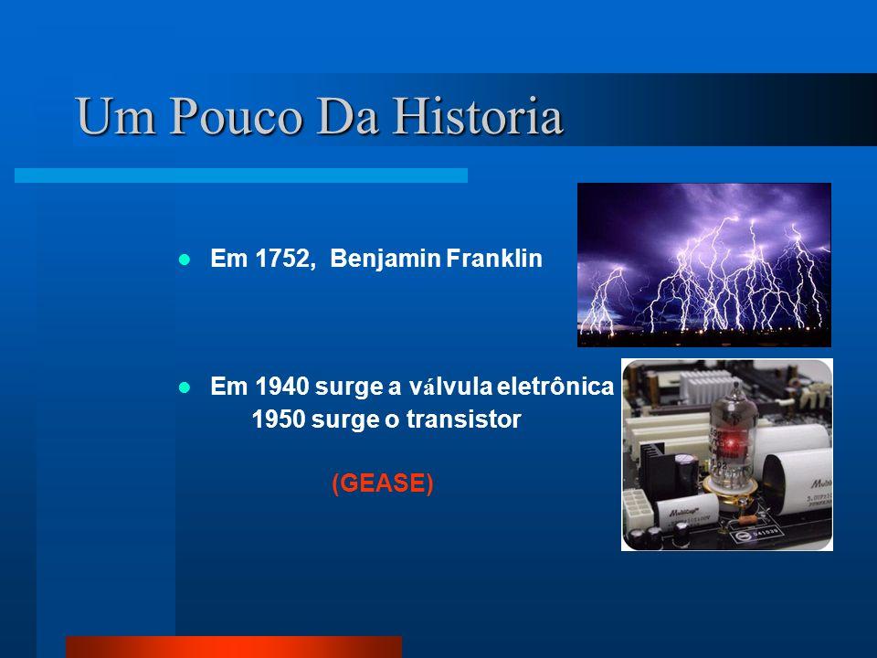 Um Pouco Da Historia Em 1752, Benjamin Franklin Em 1940 surge a v á lvula eletrônica 1950 surge o transistor (GEASE)