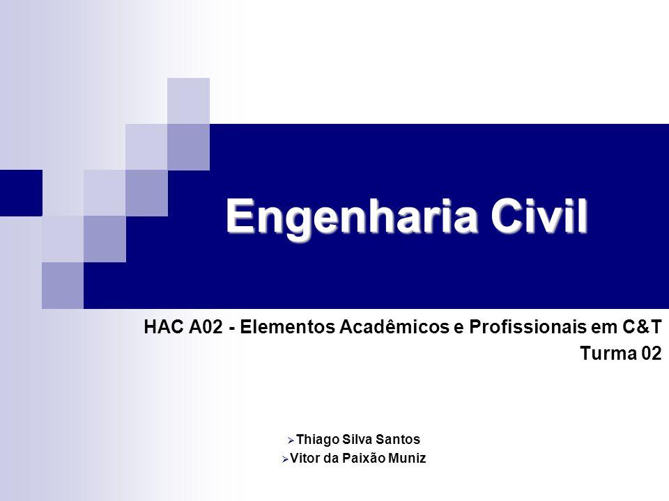Engenharia Civil HAC A02 - Elementos Acadêmicos e Profissionais em C&T Turma 02 Thiago Silva Santos Vitor da Paixão Muniz