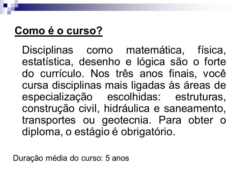 Como é o curso? Disciplinas como matemática, física, estatística, desenho e lógica são o forte do currículo. Nos três anos finais, você cursa discipli