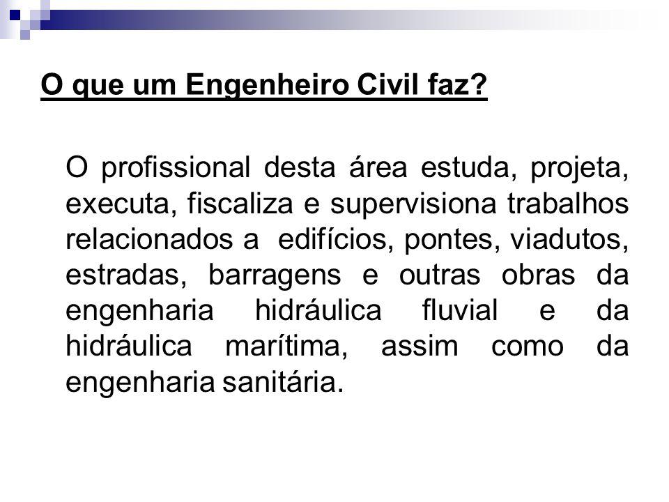 O que um Engenheiro Civil faz? O profissional desta área estuda, projeta, executa, fiscaliza e supervisiona trabalhos relacionados a edifícios, pontes