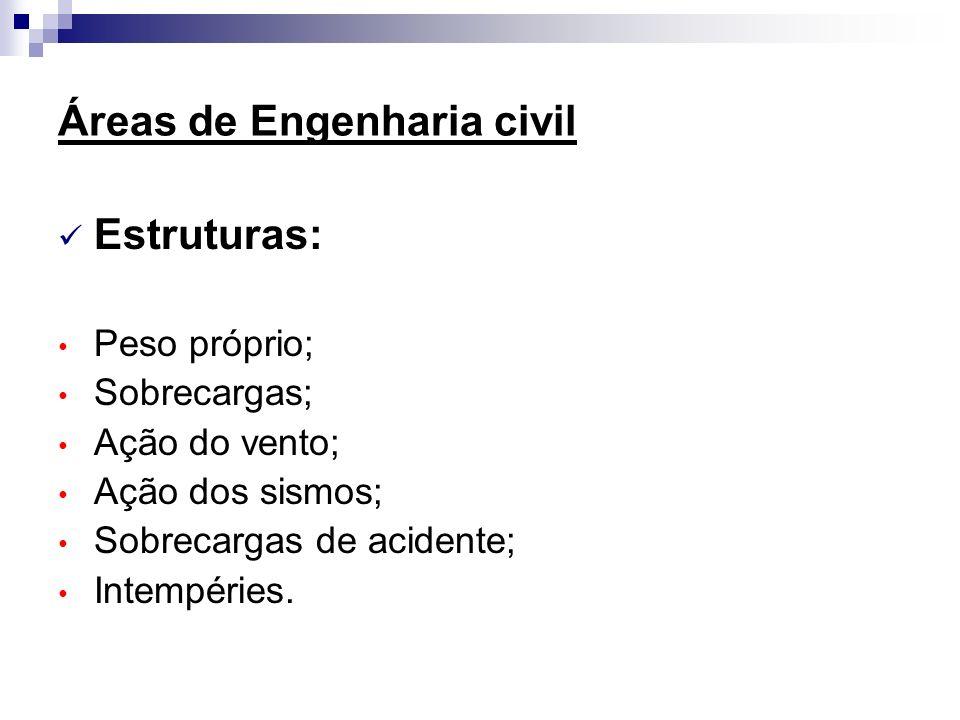 Áreas de Engenharia civil Estruturas: Peso próprio; Sobrecargas; Ação do vento; Ação dos sismos; Sobrecargas de acidente; Intempéries.