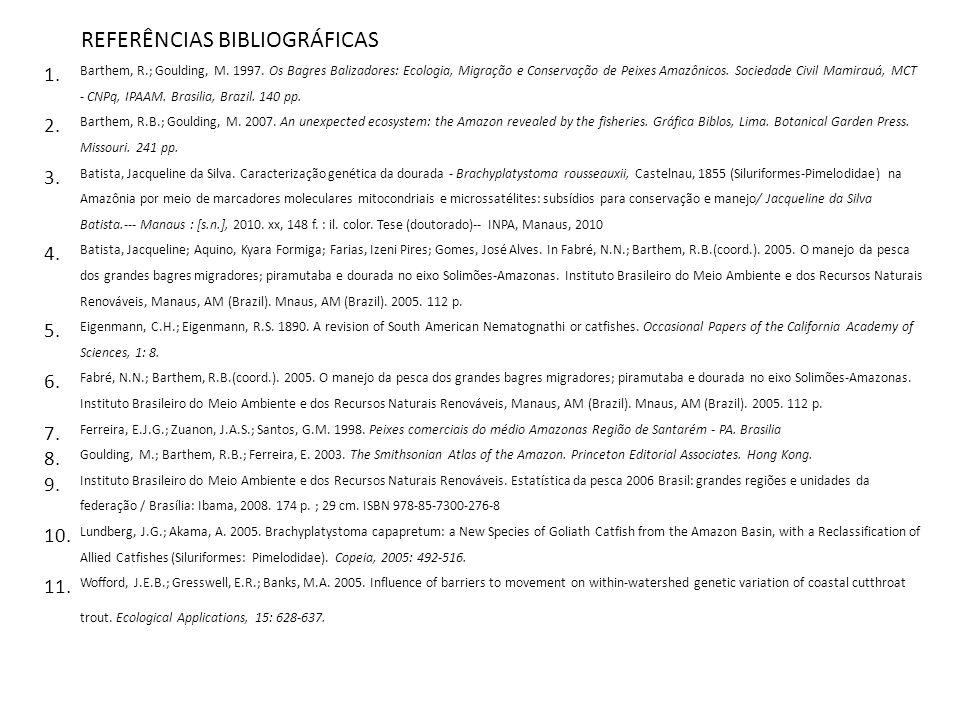 REFERÊNCIAS BIBLIOGRÁFICAS 1. Barthem, R.; Goulding, M. 1997. Os Bagres Balizadores: Ecologia, Migração e Conservação de Peixes Amazônicos. Sociedade