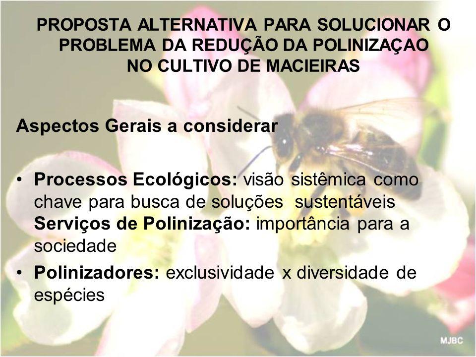 PROPOSTA ALTERNATIVA PARA SOLUCIONAR O PROBLEMA DA REDUÇÃO DA POLINIZAÇAO NO CULTIVO DE MACIEIRAS Aspectos Gerais a considerar Processos Ecológicos: v