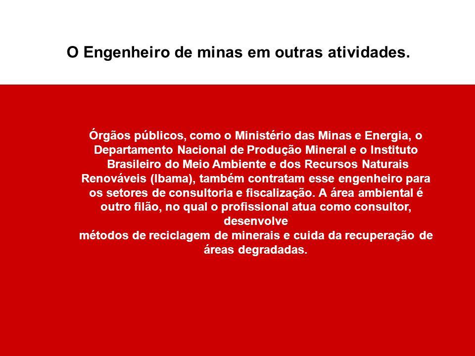 Órgãos públicos, como o Ministério das Minas e Energia, o Departamento Nacional de Produção Mineral e o Instituto Brasileiro do Meio Ambiente e dos Re