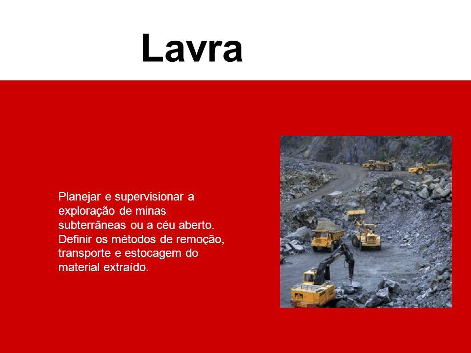Planejar e supervisionar a exploração de minas subterrâneas ou a céu aberto. Definir os métodos de remoção, transporte e estocagem do material extraíd