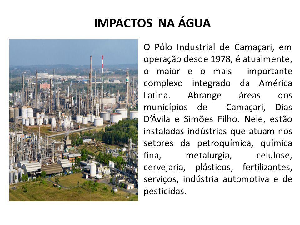 IMPACTOS NA ÁGUA O Pólo Industrial de Camaçari, em operação desde 1978, é atualmente, o maior e o mais importante complexo integrado da América Latina