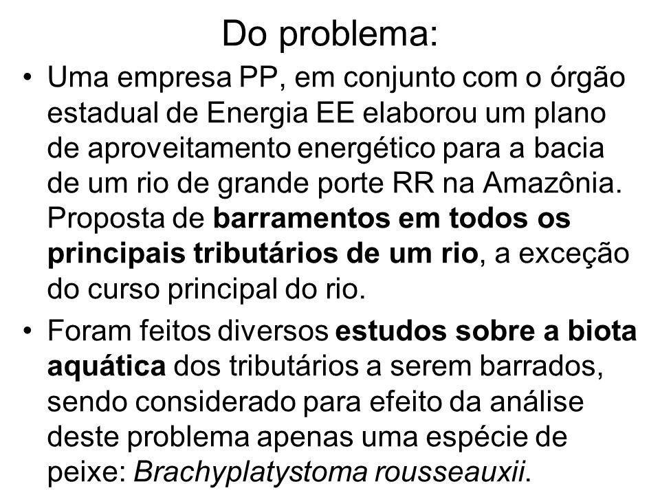 Do problema: Uma empresa PP, em conjunto com o órgão estadual de Energia EE elaborou um plano de aproveitamento energético para a bacia de um rio de grande porte RR na Amazônia.