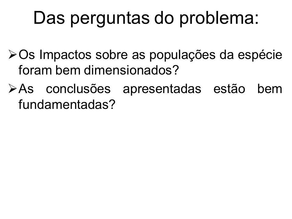 Das perguntas do problema: Os Impactos sobre as populações da espécie foram bem dimensionados.
