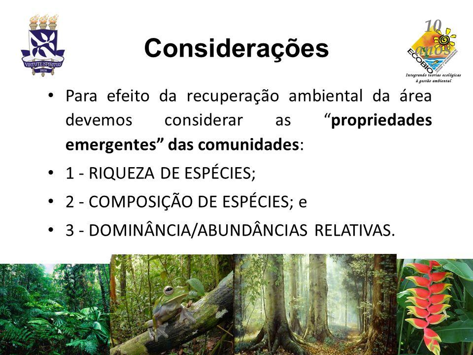 Considerações Para efeito da recuperação ambiental da área devemos considerar as propriedades emergentes das comunidades: 1 - RIQUEZA DE ESPÉCIES; 2 -