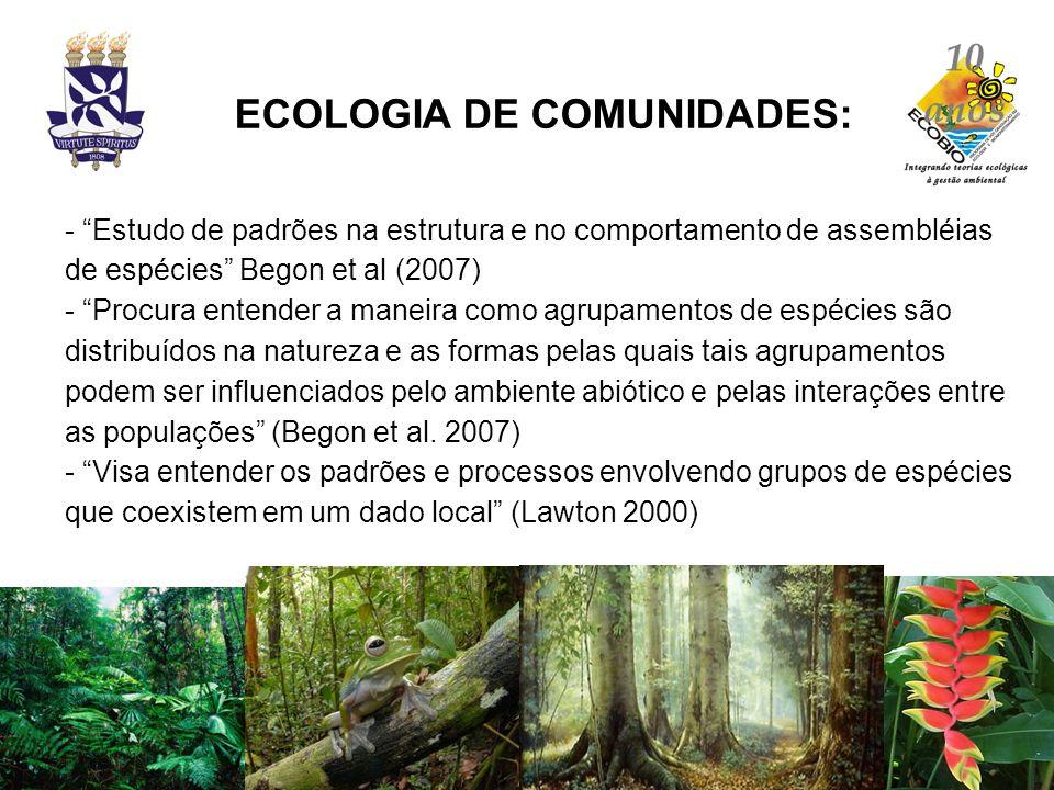 ECOLOGIA DE COMUNIDADES: - Estudo de padrões na estrutura e no comportamento de assembléias de espécies Begon et al (2007) - Procura entender a maneir