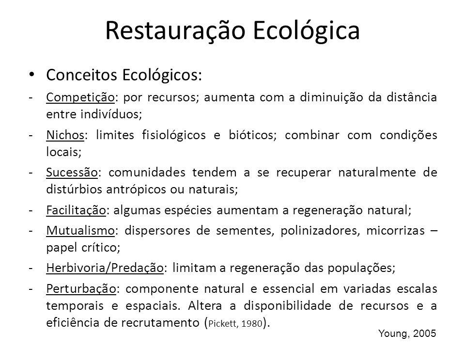 Restauração Ecológica Conceitos Ecológicos: -Competição: por recursos; aumenta com a diminuição da distância entre indivíduos; -Nichos: limites fisiol