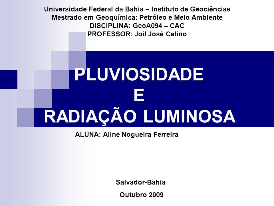PLUVIOSIDADE E RADIAÇÃO LUMINOSA Universidade Federal da Bahia – Instituto de Geociências Mestrado em Geoquímica: Petróleo e Meio Ambiente DISCIPLINA: