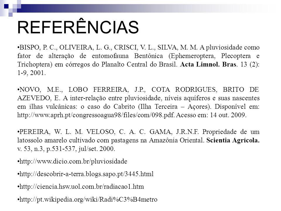 REFERÊNCIAS BISPO, P. C., OLIVEIRA, L. G., CRISCI, V. L., SILVA, M. M. A pluviosidade como fator de alteração de entomofauna Bentônica (Ephemeroptera,