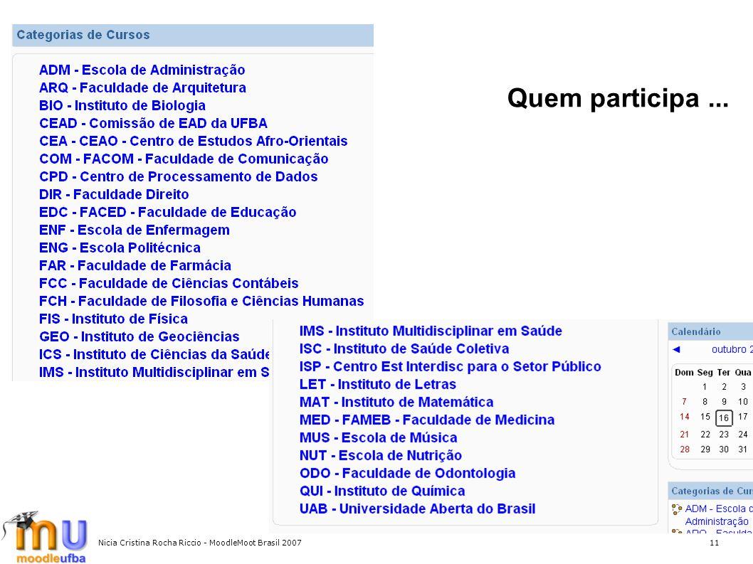 Nicia Cristina Rocha Riccio - MoodleMoot Brasil 200711 Quem participa...