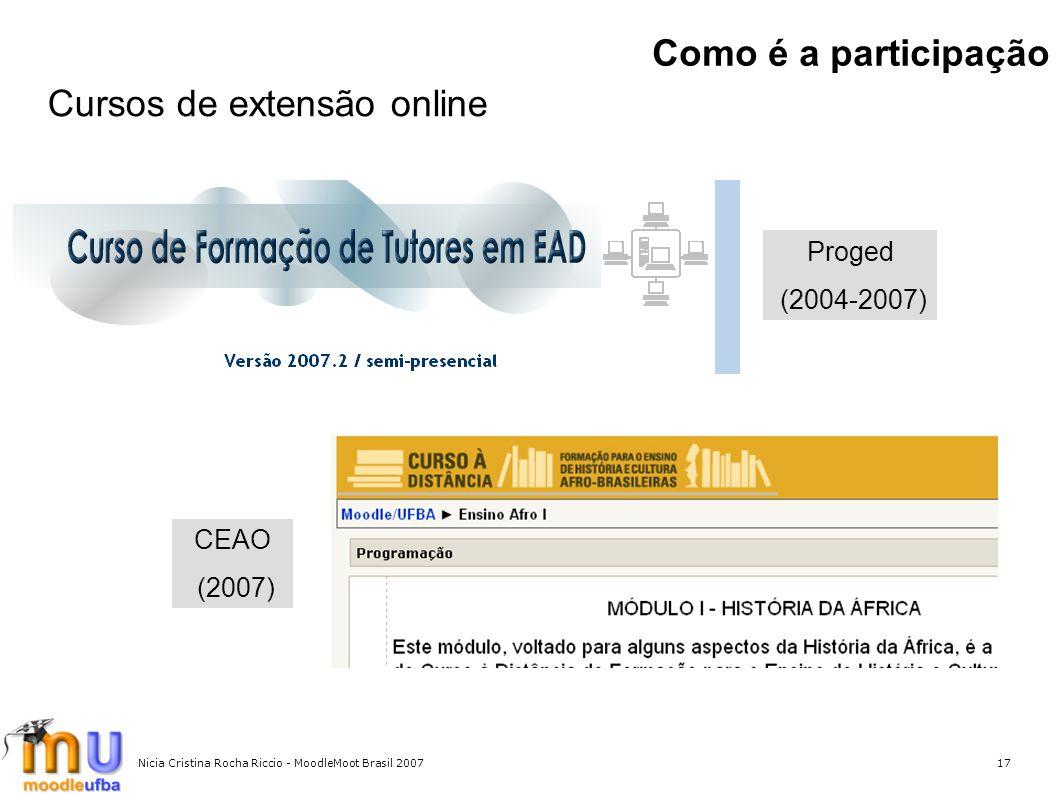 Nicia Cristina Rocha Riccio - MoodleMoot Brasil 200717 Como é a participação Proged (2004-2007) Cursos de extensão online CEAO (2007)