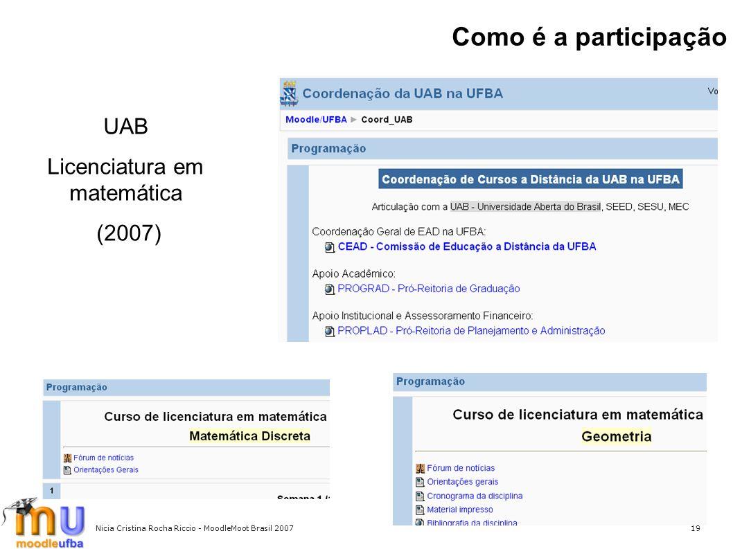 Nicia Cristina Rocha Riccio - MoodleMoot Brasil 200719 Como é a participação UAB Licenciatura em matemática (2007)