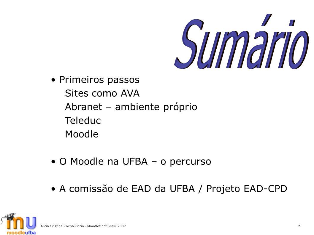 Nicia Cristina Rocha Riccio - MoodleMoot Brasil 20072 Primeiros passos Sites como AVA Abranet – ambiente próprio Teleduc Moodle O Moodle na UFBA – o p
