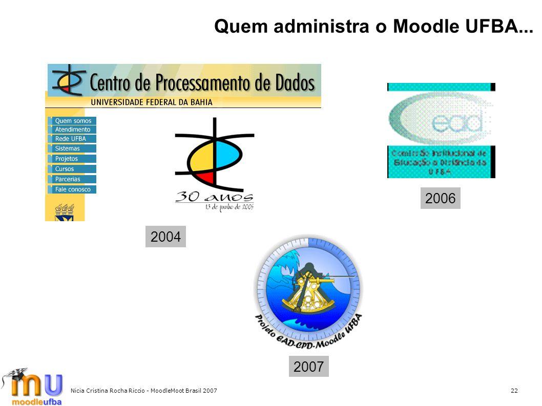Nicia Cristina Rocha Riccio - MoodleMoot Brasil 200722 Quem administra o Moodle UFBA... 2004 2006 2007