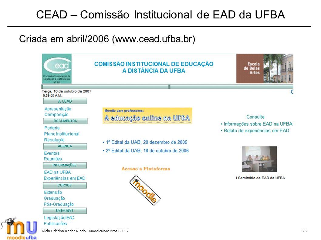 Nicia Cristina Rocha Riccio - MoodleMoot Brasil 200725 CEAD – Comissão Institucional de EAD da UFBA Criada em abril/2006 (www.cead.ufba.br)