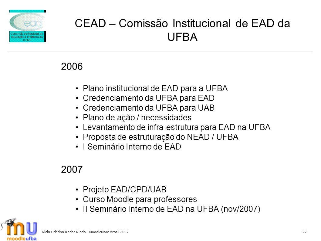 Nicia Cristina Rocha Riccio - MoodleMoot Brasil 200727 2006 Plano institucional de EAD para a UFBA Credenciamento da UFBA para EAD Credenciamento da U