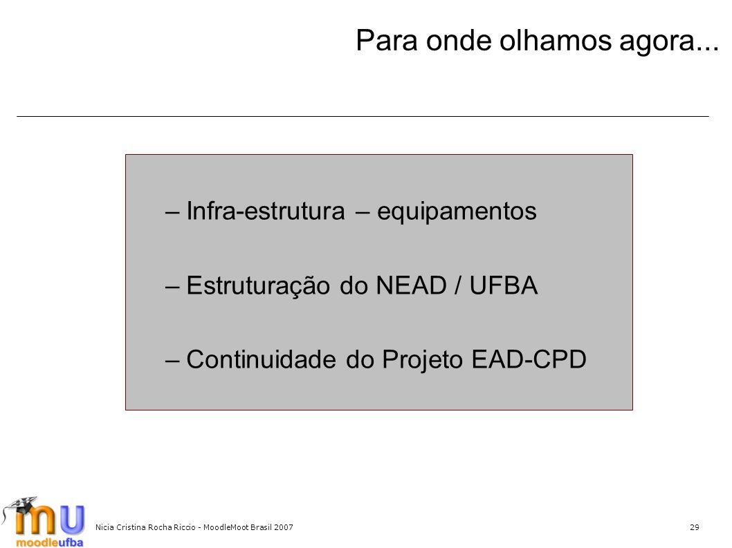 Nicia Cristina Rocha Riccio - MoodleMoot Brasil 200729 Para onde olhamos agora... –Infra-estrutura – equipamentos –Estruturação do NEAD / UFBA –Contin