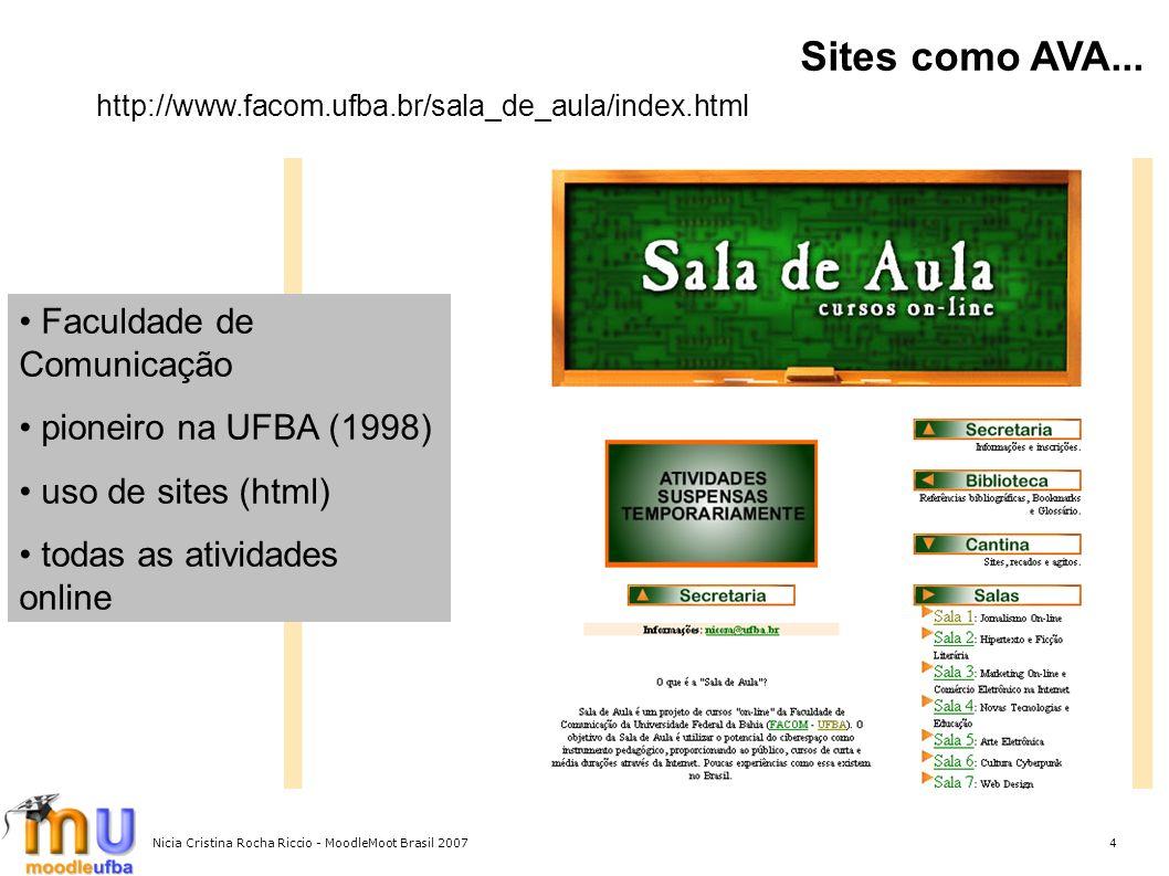 4 Sites como AVA... http://www.facom.ufba.br/sala_de_aula/index.html Faculdade de Comunicação pioneiro na UFBA (1998) uso de sites (html) todas as ati