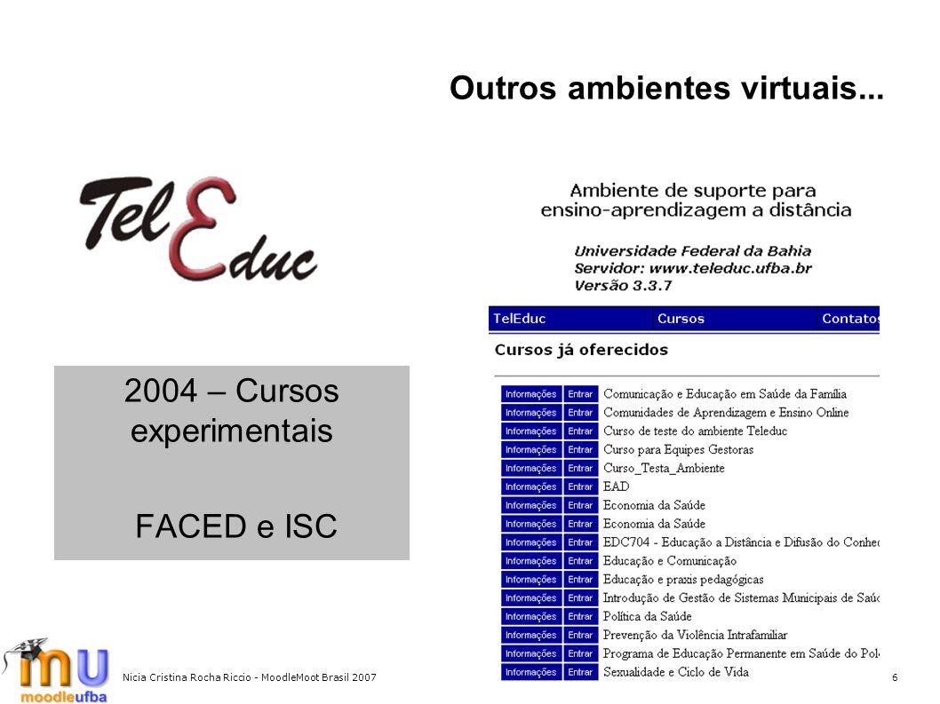 Nicia Cristina Rocha Riccio - MoodleMoot Brasil 20076 Outros ambientes virtuais... 2004 – Cursos experimentais FACED e ISC
