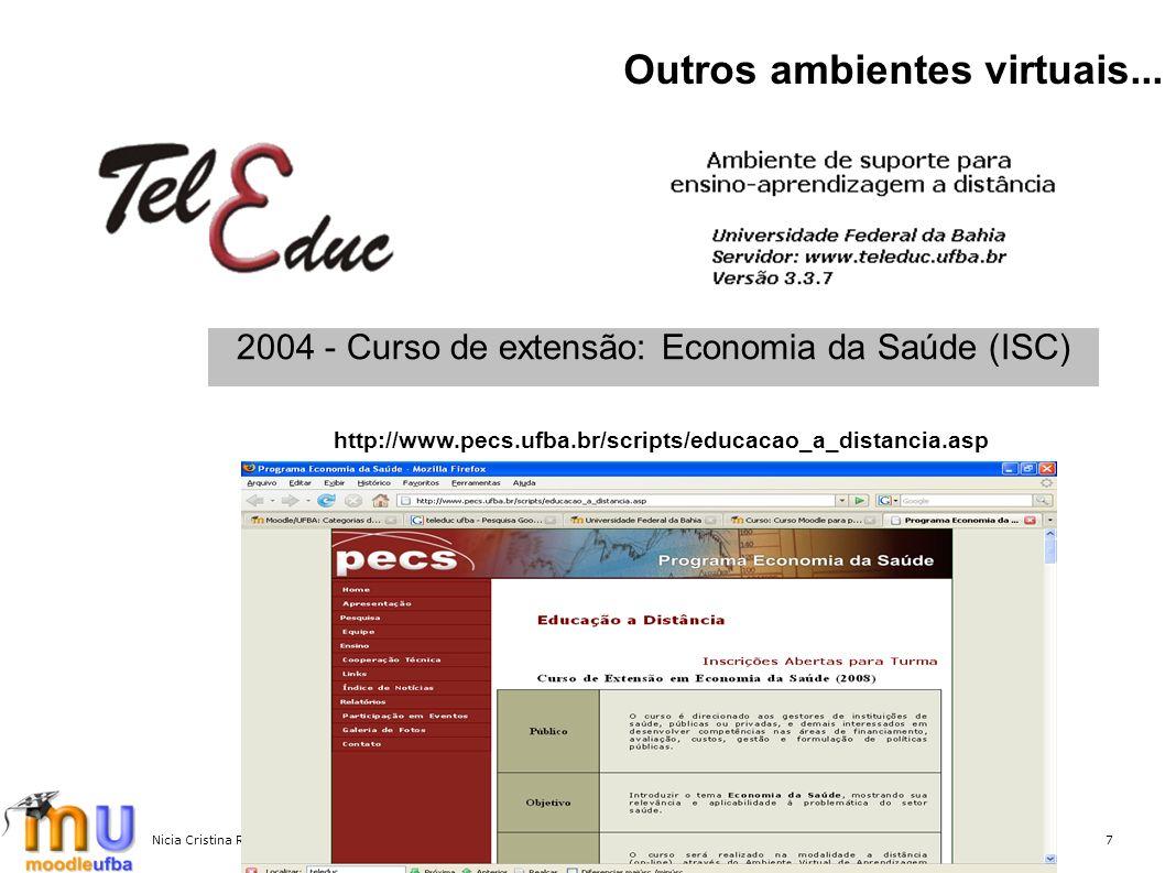 Nicia Cristina Rocha Riccio - MoodleMoot Brasil 20077 Outros ambientes virtuais... 2004 - Curso de extensão: Economia da Saúde (ISC) http://www.pecs.u