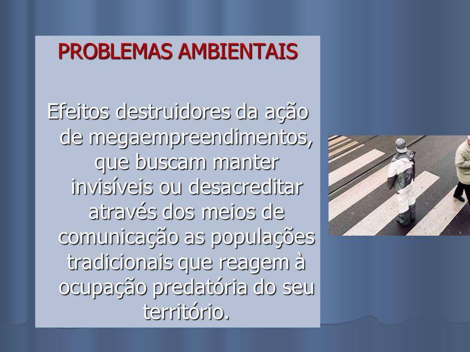 PROBLEMAS AMBIENTAIS Efeitos destruidores da ação de megaempreendimentos, que buscam manter invisíveis ou desacreditar através dos meios de comunicaçã