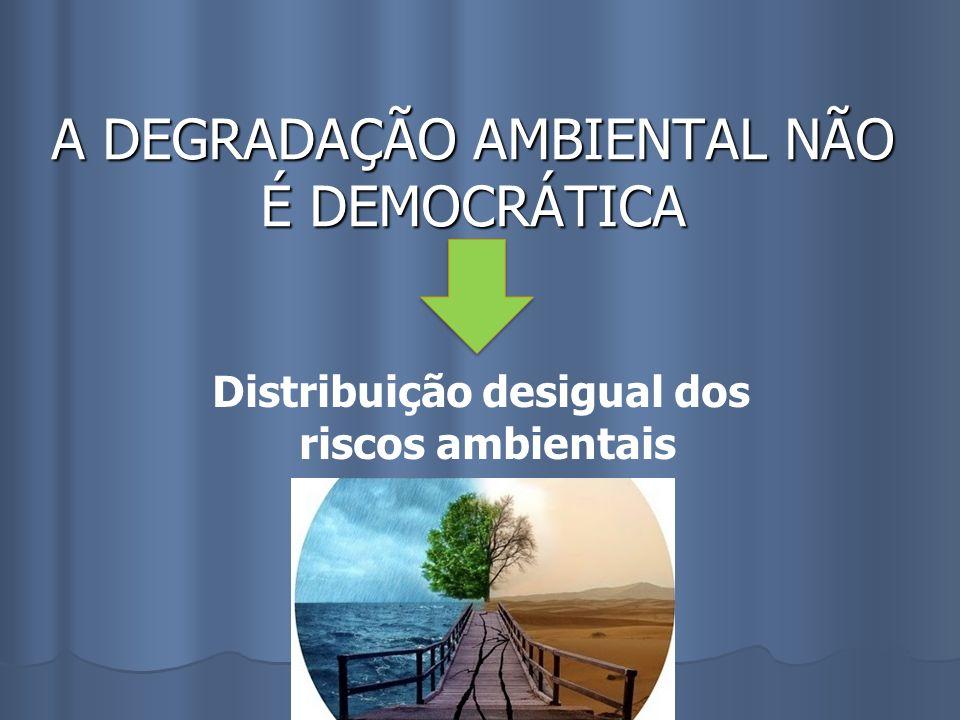 A DEGRADAÇÃO AMBIENTAL NÃO É DEMOCRÁTICA Distribuição desigual dos riscos ambientais