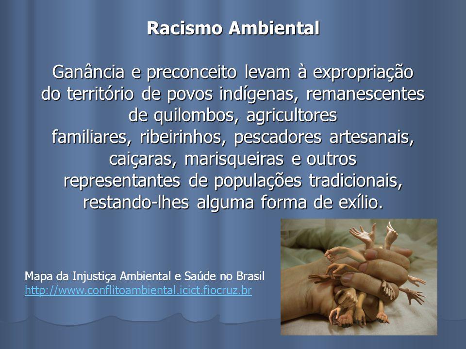 Racismo Ambiental Ganância e preconceito levam à expropriação do território de povos indígenas, remanescentes de quilombos, agricultores familiares, r