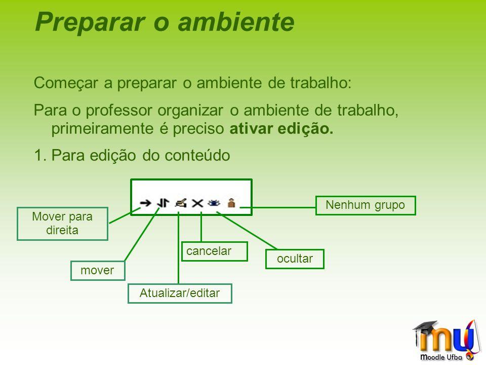 Preparar o ambiente Começar a preparar o ambiente de trabalho: Para o professor organizar o ambiente de trabalho, primeiramente é preciso ativar edição.