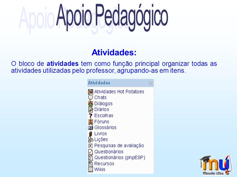 Atividades: O bloco de atividades tem como função principal organizar todas as atividades utilizadas pelo professor, agrupando-as em itens.