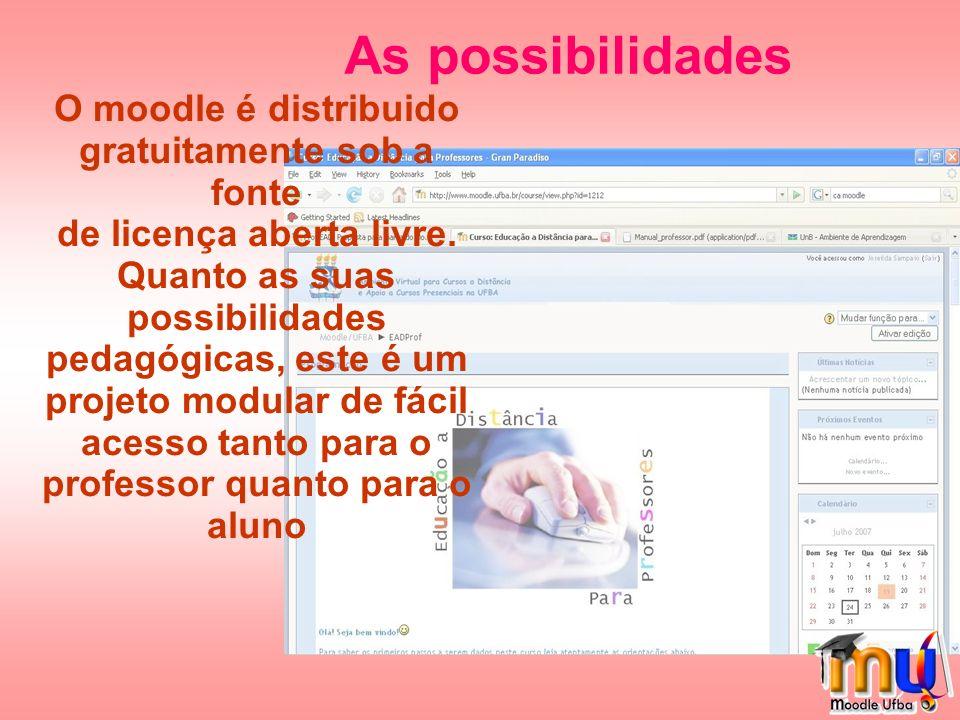 As possibilidades O moodle é distribuido gratuitamente sob a fonte de licença aberta livre.